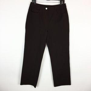 St. John Sport Pants 12 Brown Straight High Rise